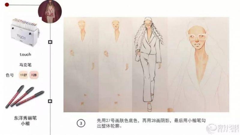 时装手绘 - gucci套装表现技法步骤详解